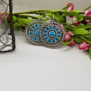 Large Blue Enamel Silver Medallion Dangle Earrings
